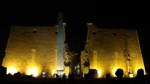 1st pylon of luxor at night